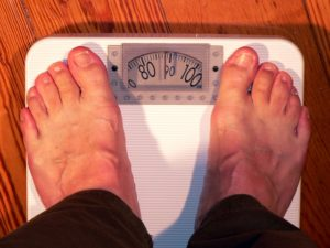 standing on weighing scale, nursing home